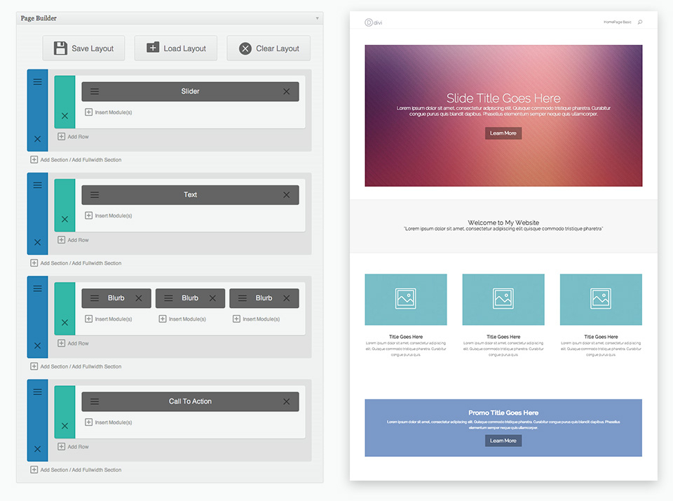 Divi Theme Layout Example